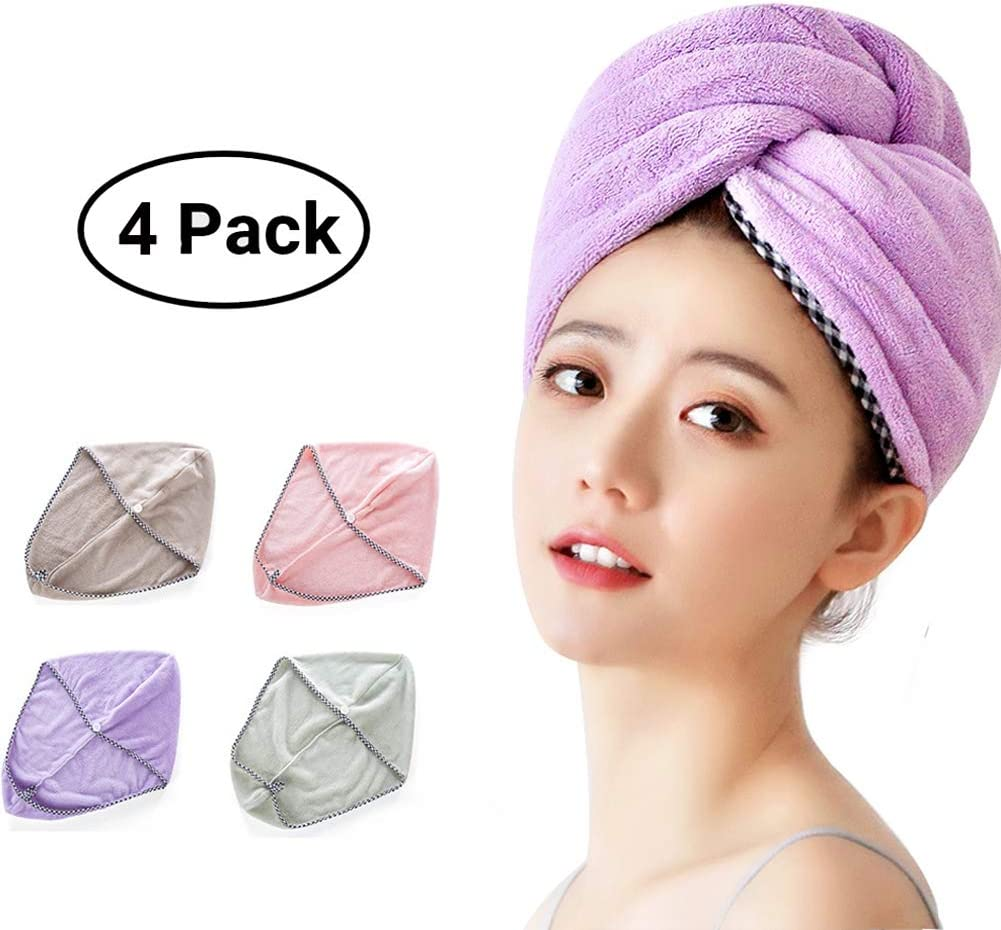 Coral Fleece Hair Towel Quick Dry Twist Turban Shower Bath Button Head Cap Hat