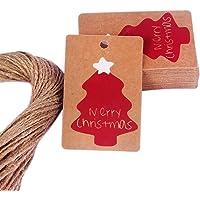Drawihi 50pcs Etiquetas Navidad Regalos Patrón Caramelos