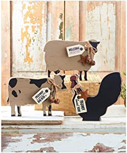 Farmhouse Decor for The Home 3 Animals Rooster Cow Sheep Sign Great Gift Kitchen Living Room