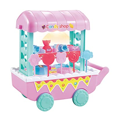 Creative Music Ice Cream Cart Toy, Kids Fruit Ice Cream Candy Vegetables Food Cart Toy Music Pretend Play Toys Set: Office Products
