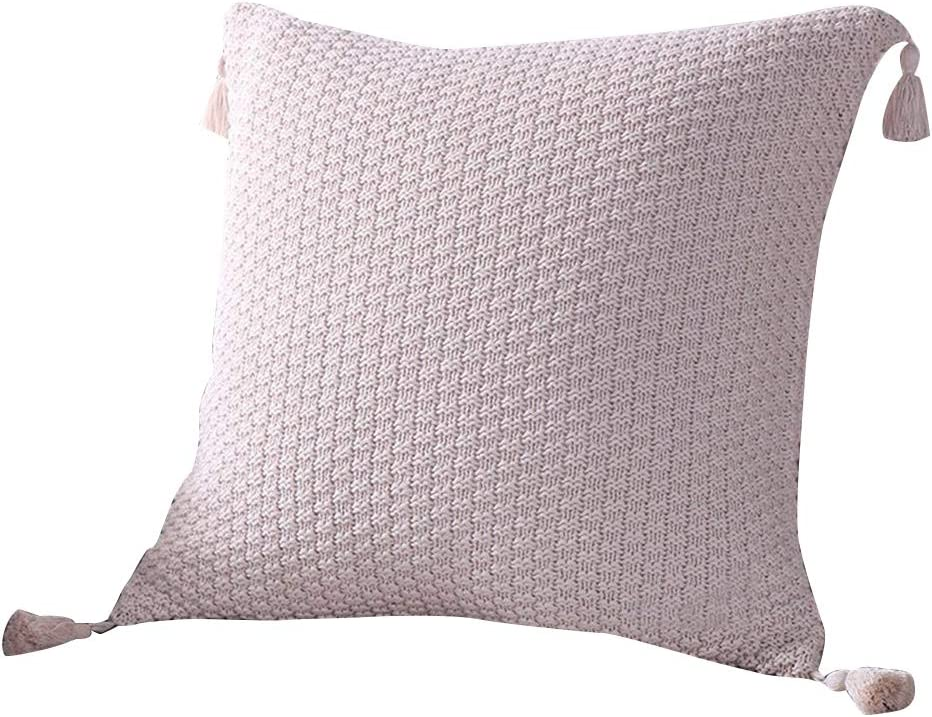 EnjoyBridal Cotton Knitted Pillowcase Knitting Patterns Bed Soft,Sofa Square Warm Pillow Covers 4545CM Throw Sweater Pillow Cover with Button,Cover Only 4545CM, Red