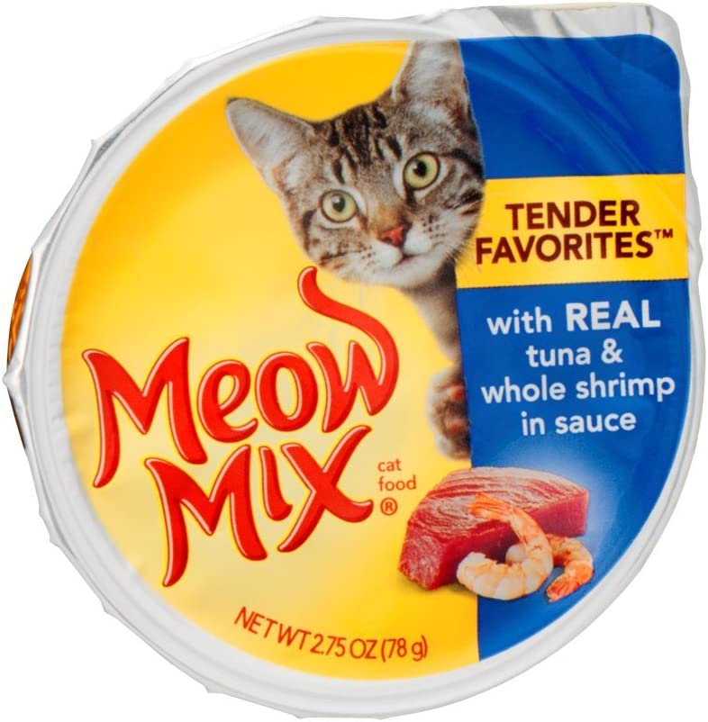 Meow Mix Market Select with Real Tuna & Whole Shrimp in Sauce Cat Food 2.75 oz (Pack of 24)