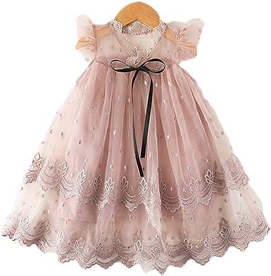 Amazon.com: NNJXD Vestido de encaje para niñas, sin mangas ...