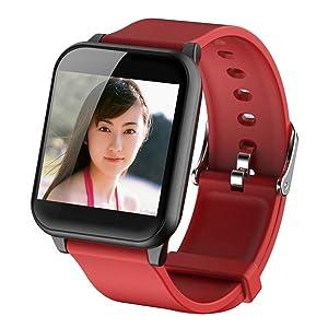Smartwatch resistente al agua, pulsera con pulsímetro, para iOS y Android, color rojo