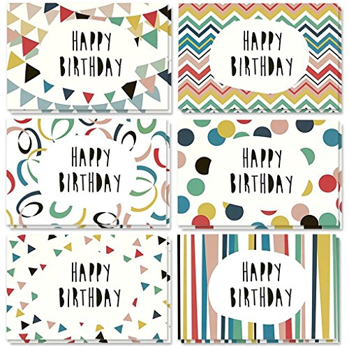 48 Pack Happy Birthday Greeting Cards, 6 Colorful Doodle Designs, Bulk Box Set Variety Assortment, Envelopes Included 4 x 6 inches ()