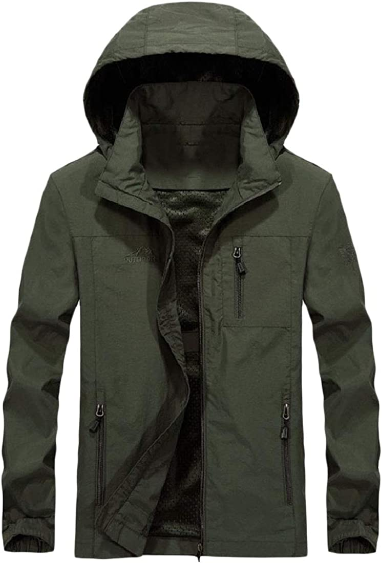 Abetteric Mens Removable Hoode Outdoor Quick Dry Casual Loose Trench Coat