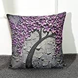 Kayau Throw Pillow Case Flower Tree Personalized Square Cotton Blend Linen Pillow Covers Decor Cushion Covers 18x18 Inch (Purple)