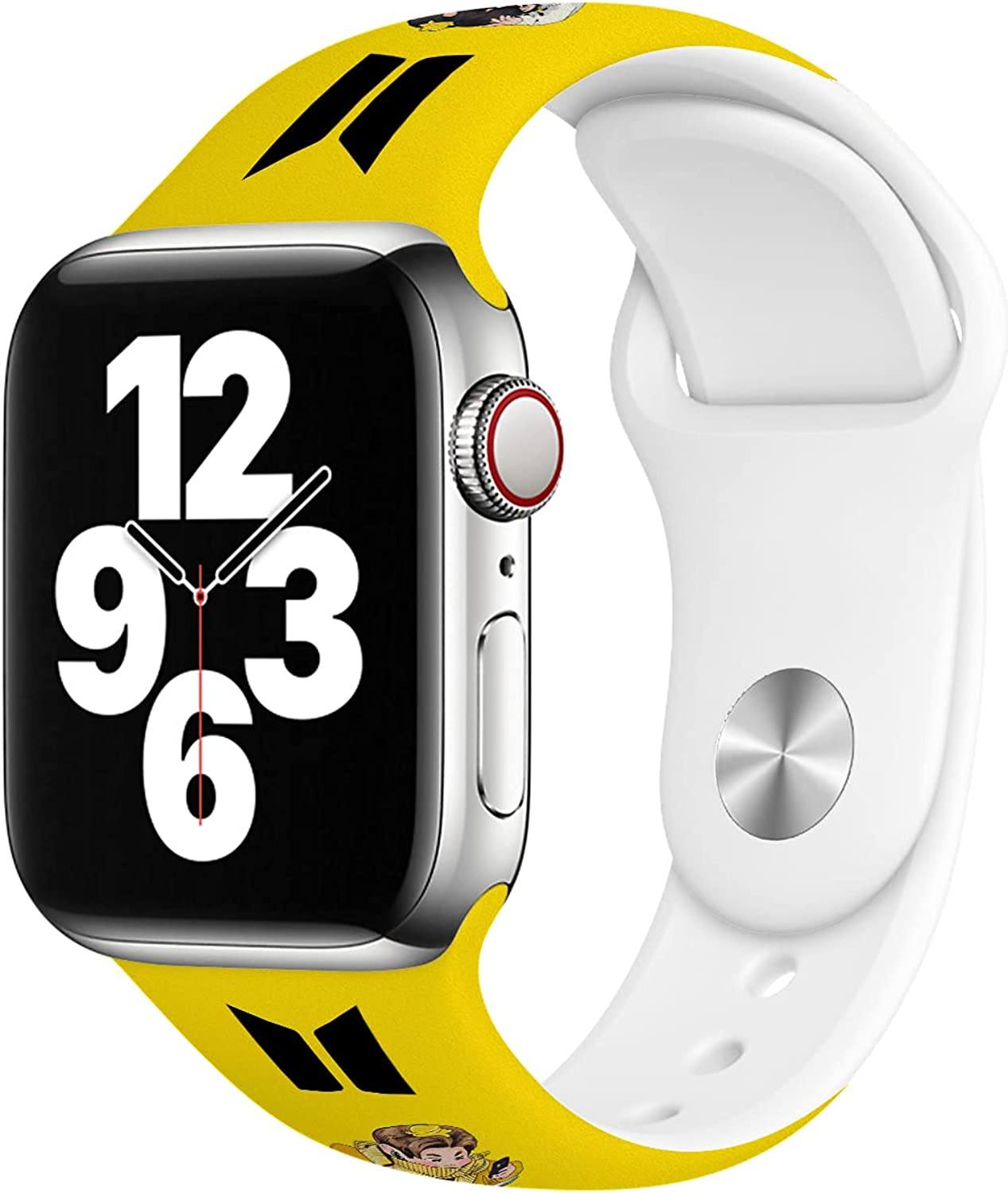 B-T-S Bands Compatible with Apple Watch Band 38mm 40mm 42mm 44mm, Soft Silicone Sport Replacement Strap Compatible with iWatch Series 6 5 4 3 2 1 SE Women Men White