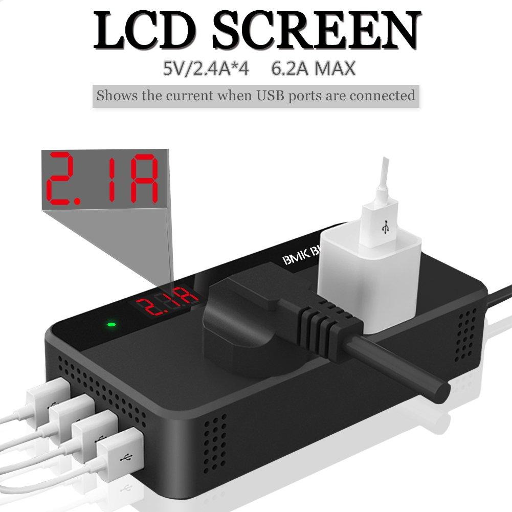 BMK 200W Car Power Inverter DC 12V to 110V AC DC Adapter 4 USB Ports Charger Adapter Car Plug Conver