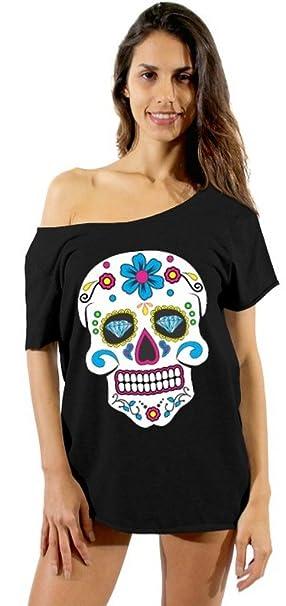 17908f32 Awkwardstyles Sugar Skull Colorful Off Shoulder Tops T-Shirt + Bookmark S  Black