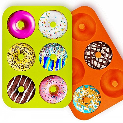 OKSANO 3 Pack Donut Molds, Silicon Cake Mold 6 Cavity Non-Stick Safe Baking Tray Maker Pan Heat Resistance for Cake Biscuit Bagels Muffins-Orange, Rose Red, Green by OKSANO (Image #3)'