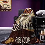 Retro throw blanket Old Hot Chocolate Commercial in Funky Shaded Color with Cocoa Beans and Mug Print miracle blanket Multicolor size:60''x80''