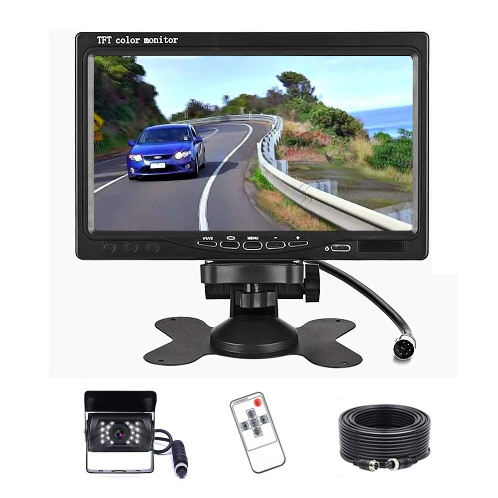 Rearview Backup Camera and Monitor Kit 7 Inch HD Monitor DVR Highway Monitoring System Support Dual Split Screen Rear View System for Truck//Trailer//Heavy Box//RV//Camper//Bus with 2 Backup Cameras IP68 Waterproof Night Vision