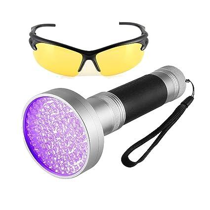 Detector de orina UV para mascotas, 100 ledes, luz negra, con gafas de