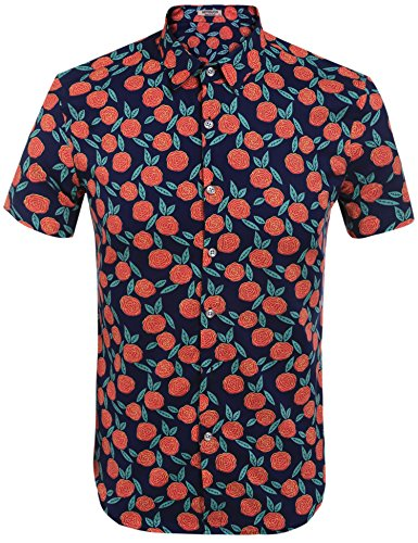HOTOUCH Mens Vintage Hawaiian Print Shirts Lightweight Floral Shirt Navy Red ()