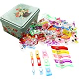 Guifier 130 PCS Sewing Clips Pack - 4 Sizes Multipurpose Sewing Clips Plastic Quilting Clips with Tin Assorted Colors Binding Clips,Wonder Clips for Quilting,Quilters,Sewing and Crafting Safety Clips