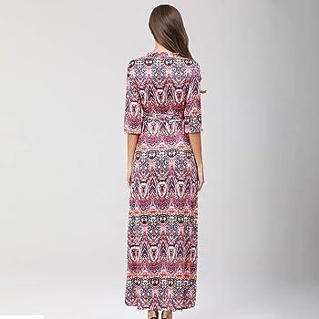 Vestito Lungo Elegante Donna Asimmetrico Vestito Casual Mode Bohemian Abiti Stampa Fiore Kuty Boho Dress,Lungo Donna Abito