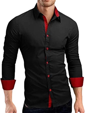 WSPLYSPJY Men Casual Dress Shirts Regular Fit Long Sleeve Button Down Cotton Solid Color Shirt