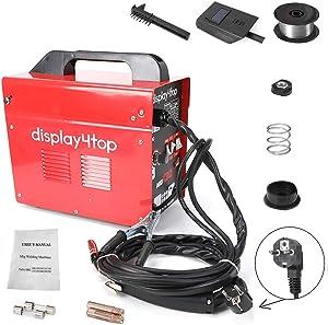 Display4top Soldador hilo continuo sin gas MIG 130 220V Máquina de Soldadora Aparato Eléctrico de Soldadura Máquina de Soldar Portátil para Casa Color Rojo