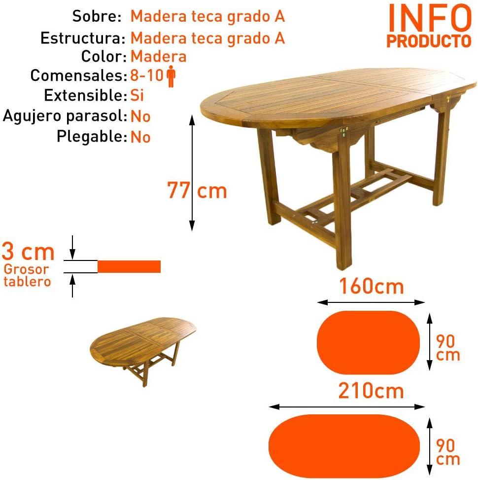 Mesa de jard/ín Extensible 160//210 cm de Madera Teca Tama/ño: 160//210x90x77 cm Madera Teca Grado A Ovalada Tratamiento al Agua aplicado