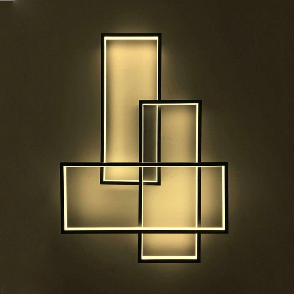 GBLY LED Wandleuchte Geometrisch Wandlampe Warmweiß Deckenleuchte Schwarz Multifunktional Nacht Lampe für Wohnzimmer, Schlafzimmer, Flur