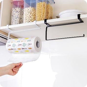 okdeals nuevo de cocina de hierro de pañuelos para colgar toalla de baño portarrollos de papel soporte para rollo de papel de cocina armario puerta gancho ...