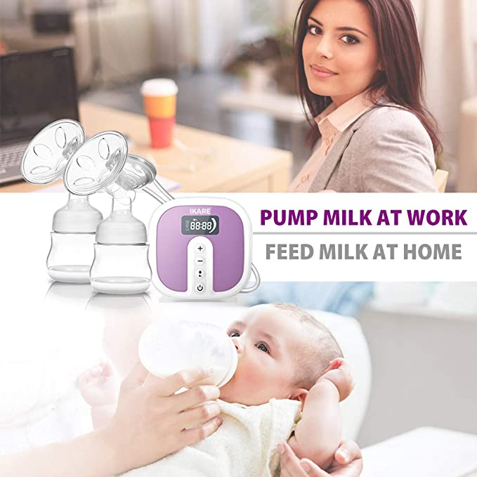 Electric Double Breast Pumps [Hospital Grade] by IKARE, Portable Breast  Pump with Rechargeable Battery, Whisper Quiet Motor with 45 Adjustable ...
