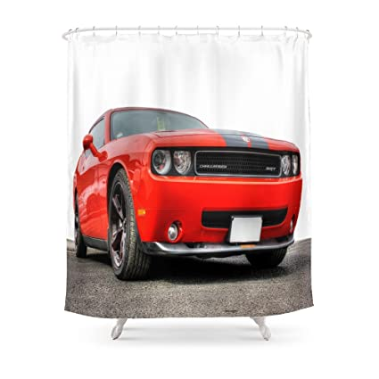 Amazon Com Society6 Red Dodge Challenger Shower Curtain 71 By 74