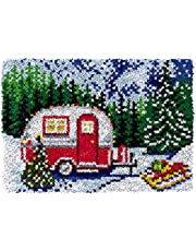 Latch Hook Rug Kits DIY Mat Carpet Tapestry Crochet Yarn Kits Yarn Pre-Printed Snow Camping Pattern Canvas Handmade Crafts for Adults/Beginners,20.5 * 14 Inches