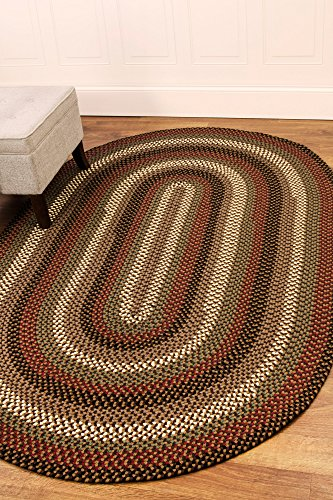 Super Area Rugs, Santa Maria Braided Indoor Outdoor Rug Washable Reversible Neutral Patio Deck Carpet, 5' X 8' (Oval Outdoor Braided Rug)