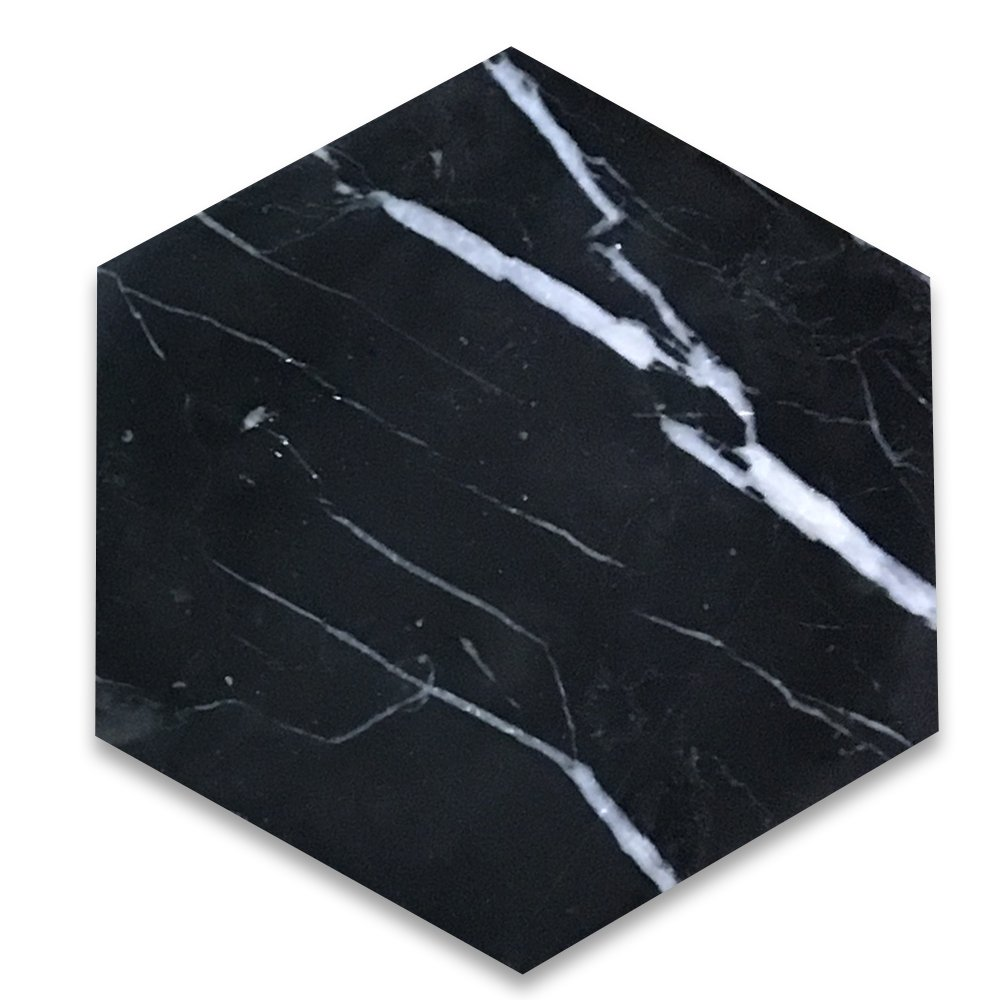 Nero Marquina Black Marble Hexagon Tile 6 inch Polished - 100 pcs