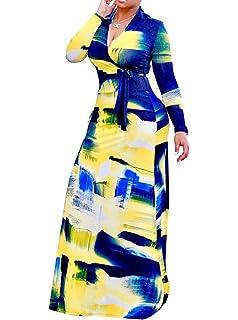 773f2e822c9 Locryz Women's V Neck 3/4 Sleeve Digital Floral Printed Party Loose Long  Maxi Dress
