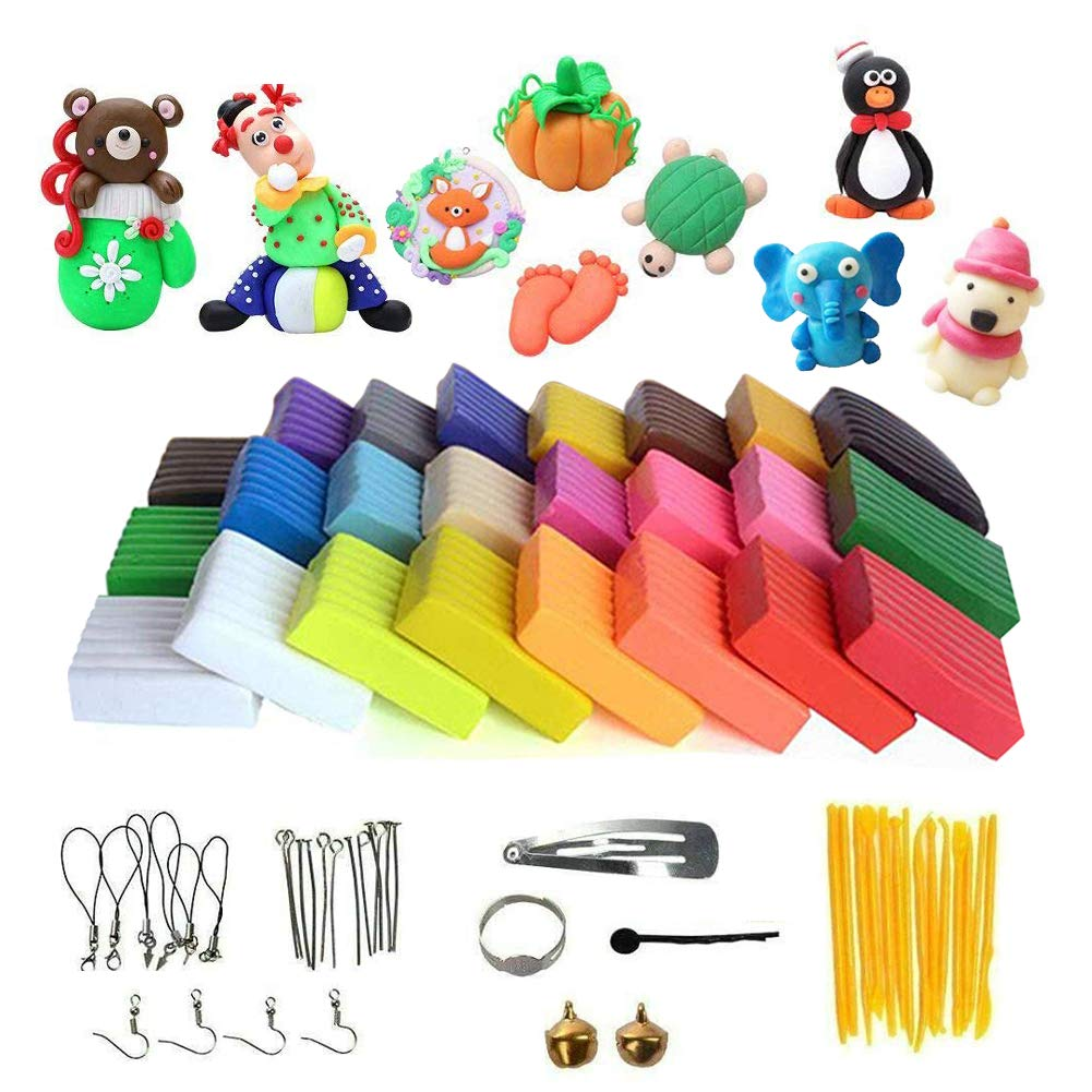 Amor 24 Colors Polymer Clay Modeling Magic Clay Safety Soft Oven Baking DIY Clay Set with Tools