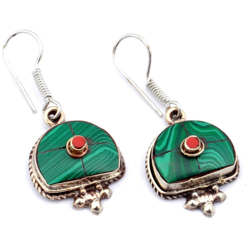 Nepali Work Green Malachite Red Coral Sterling Silver Overlay Earring 1.5 Handmade Jewelry