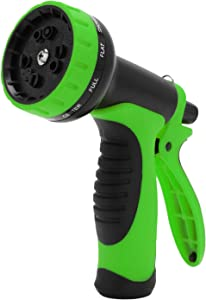 "M MOKENEYE Garden Hose Nozzle Sprayer Hand Spray with 10 Patterns, High Pressure Water Hose Nozzle 3/4"" Heavy Duty for Watering Plants, Washing Cars, Pets Cleaning (Green)"