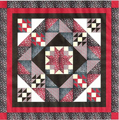 Easy Quilt Star Medallion Red/Black/White Paisley/Queen/EXPEDITED SHIPPING by Galaxy/RJR