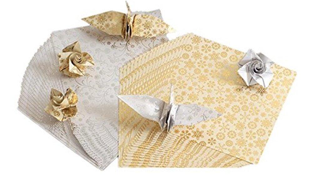 Vikenner 40 pezzi quadrati di carta per origami fiocco di neve stampe floreali pieghevole cartine per progetti fai da te arti e mestieri –  15*15 cm –  oro e argento