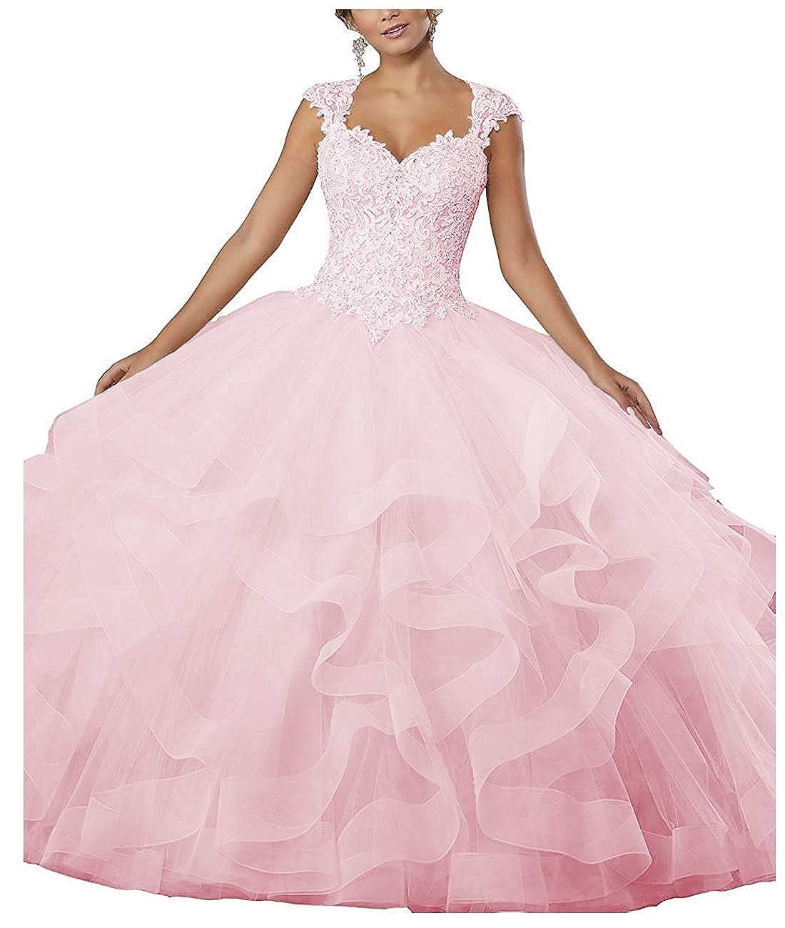 Light Pink ZLQQ Women's Sweet 16 Lace Applique Beading Sleeveless Ball Gown Quinceanera Dresses