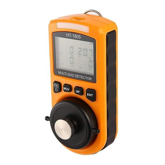 4 en 1 O2 H2S CO LEL Detector de Gas Combustible Muestreador de Gas Bomba Oxígeno Monóxido de Carbono Analizador de Gas Monitor Detector de Fugas de Gas: ...