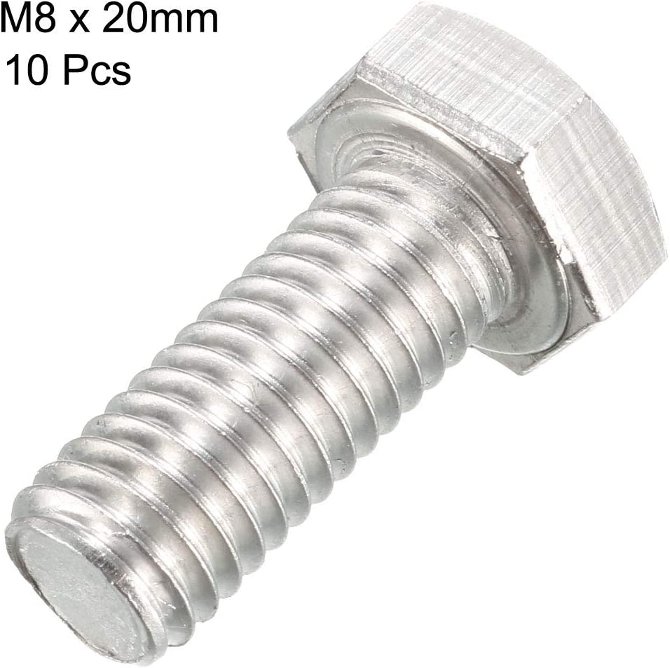 sourcing map M8 Thread 20mm 304 Stainless Steel Hex Screws Bolts Fastener 10 pcs