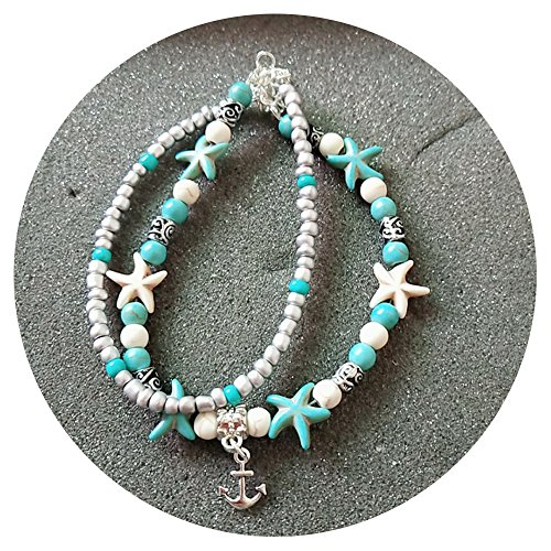 OSM Starfish Multi Layered Women Anklets Turquoise Stone Pendant Beads Boho Beach Sea Charm Foot Chain Anklet (Turquoise Conch Shell)
