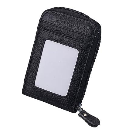 Negro Delgada Cartera para Hombre - Jingleer Minimalista RFID Tarjetero Cuero Monedero