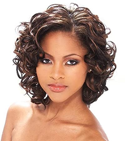 FENCCA Short Curly Wigs for Women Brown Big Curly Bob Wigs Natural Looking Heat Resistant Synthetic