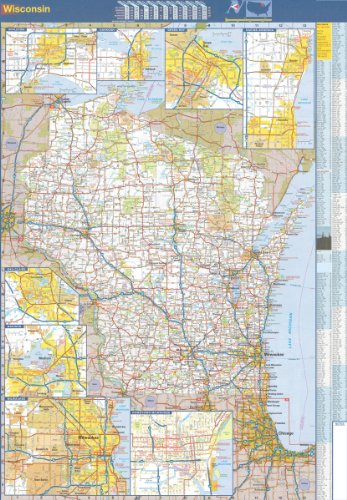 48x70 Wisconsin State Official Executive Laminated Wall Map