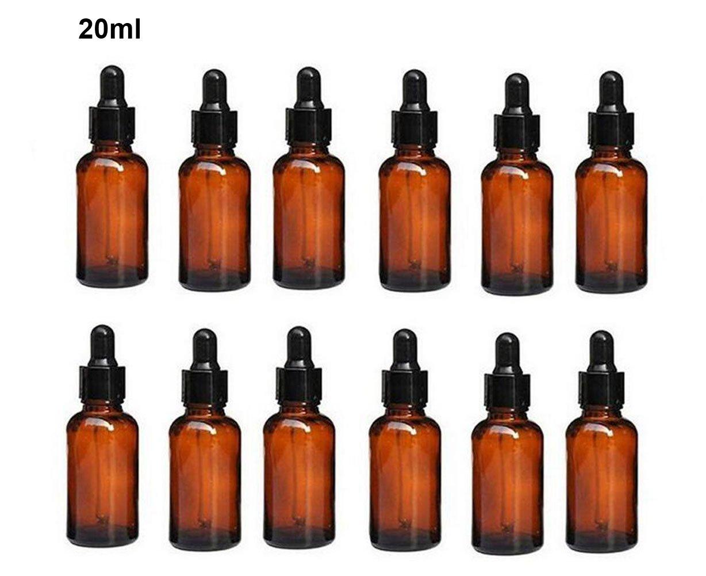 ericotry 12pcs 20ml 19gram vide rechargeable Bouteille d'huile essentielle de verre Ambre Fiole à nourriture avec verre Pipette compte-gouttes pour huiles essentielles d'autres liquides Lot de 12