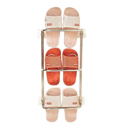 10aa2718779ba Esdella Wall Mounted Shoe Rack Stainless-Steel Shoe Rack for Bathroom,  Slipper Shoe Organizer Over The Door, Shoe Storage Shelf Hanging Shoe Rack