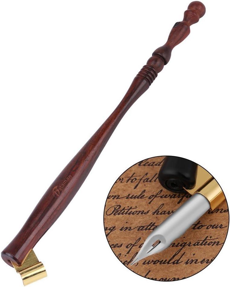 Soporte para bolígrafos de pluma de madera p/caligrafía