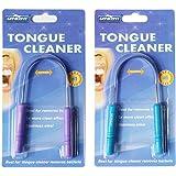 Genkent Tongue Cleaner Stainless Steel for Bad Breath Tongue Cleaner Scraper 2 PACK(Blue/Dark purple Random)
