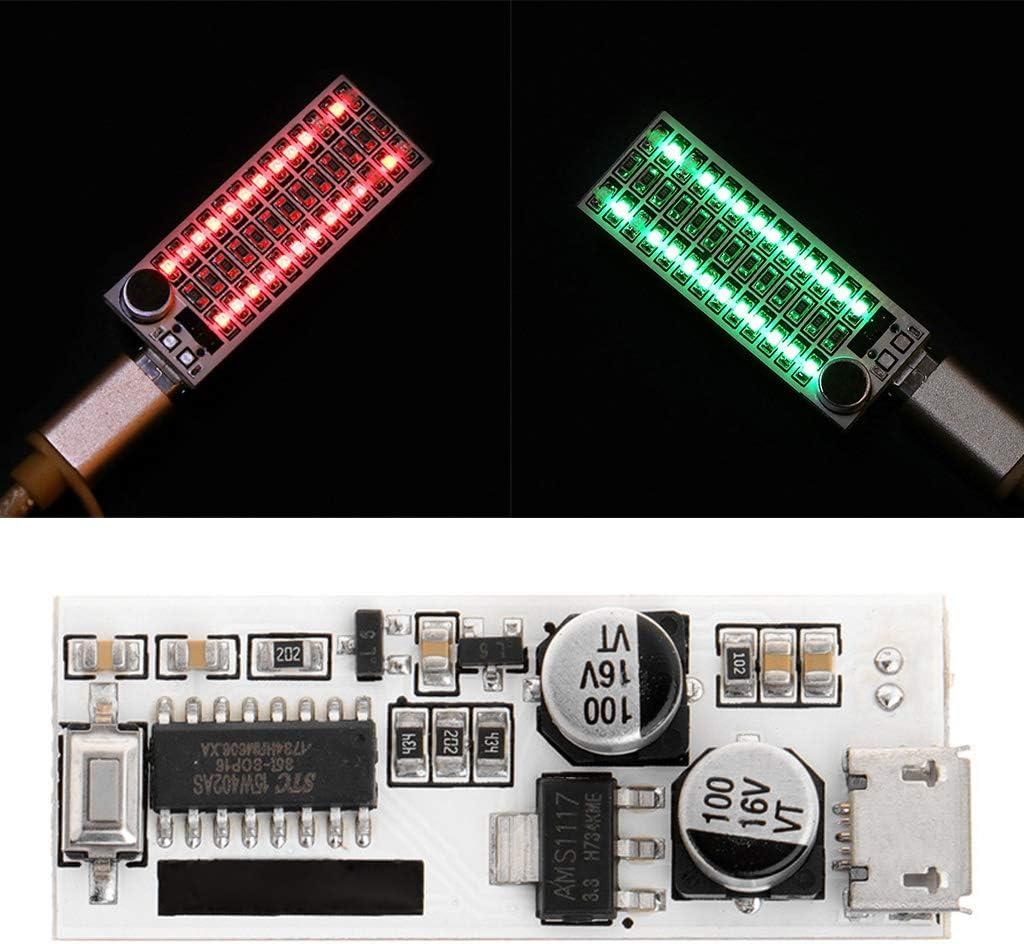 Qiman USB Power 2x13 Mini Musik Spektrum LED-Analysator Voice Audio-Pegelanzeige FG Gr/ün