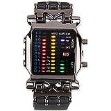 YESURPRISE Montre numérique à LED Pour homme Montre commerciale Bracelet en cuir Noir